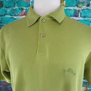 Tommy Bahame Polo Shirt Marlin Logo Green Size M
